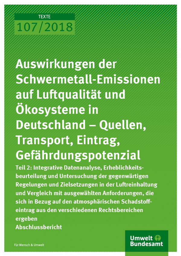 Cover der Publikation Texte 107/2018 Auswirkungen der Schwermetall-Emissionen auf Luftqualität und Ökosysteme in Deutschland - Quellen, Transport, Eintrag, Gefährdungspotenzial