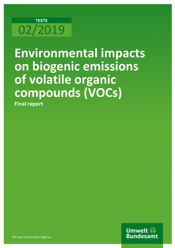 Cover of publication Texte 02/2019 Environmental impacts on biogenic emissions of volatile organic compounds (VOCs)