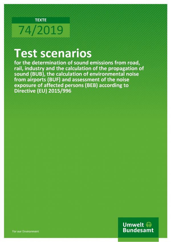 Cover of publication TEXTE 74/2019 Test scenarios for the determination of sound emissions from road, rail, industry and the calculation of the propagation of sound (BUB), the calculation of environmental noise from airports (BUF) and assessment of the noise exposure of affected persons (BEB) according to Directive (EU) 2015/996