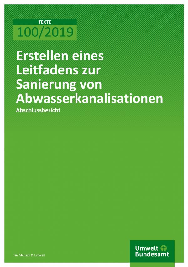Cover der Publikation TEXTE 100/2019 Erstellen eines Leitfadens zur Sanierung von Abwasserkanalisationen