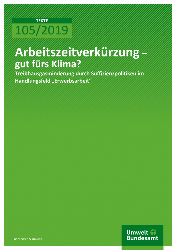 Cover der Publikation TEXTE 105/2019 Arbeitszeitverkürzung – gut fürs Klima?