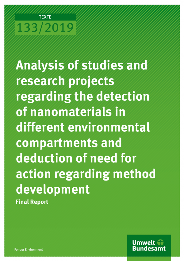 Cover of publication TEXTE 133/2019 Analysis of studies and research projects regarding the detection of nanomaterials in different environmental compartments and deduction of need for action regarding method development