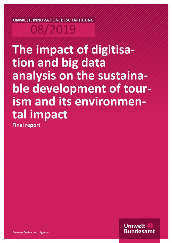 Cover of publication UIB 08/2019 The impact of digitisation and big data analysis on the sustainable development of tourism and its environmental impact