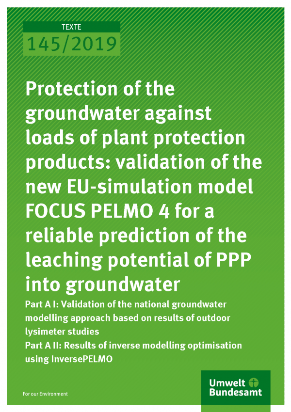 Cover of publication TEXTE 145/2019 Protection of the groundwater against loads of plant protection products: validation of the new EU-simulation model FOCUS PELMO 4 for a reliable prediction of the leaching potential of PPP into groundwater
