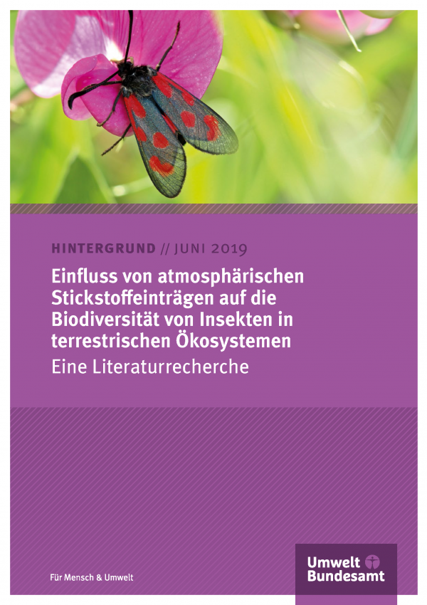 Cover des Hintergrundpapiers Einfluss von atmosphärischen Stickstoffeinträgen auf die Biodiversität von Insekten in terrestrischen Ökosystemen