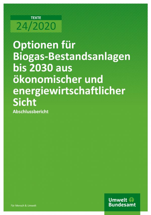 Cover der Publikation TEXTE 24/2020 Optionen für Biogas-Bestandsanlagen bis 2030 aus ökonomischer und energiewirtschaftlicher Sicht
