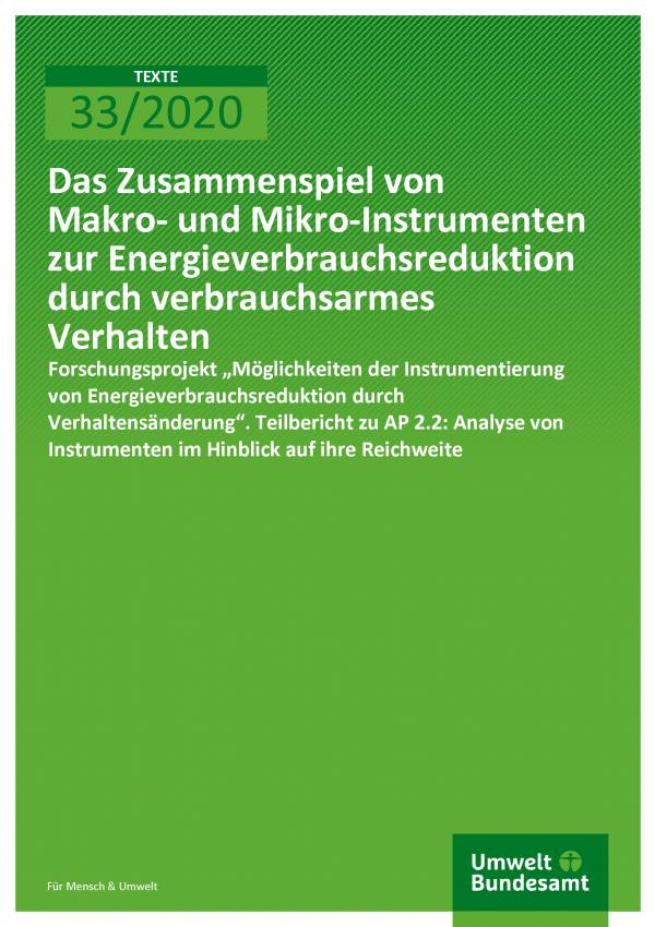 Cover der Publikation TEXTE 33/2020 Das Zusammenspiel von Makro- und Mikro-Instrumenten zur Energieverbrauchsreduktion durch verbrauchsarmes Verhalten