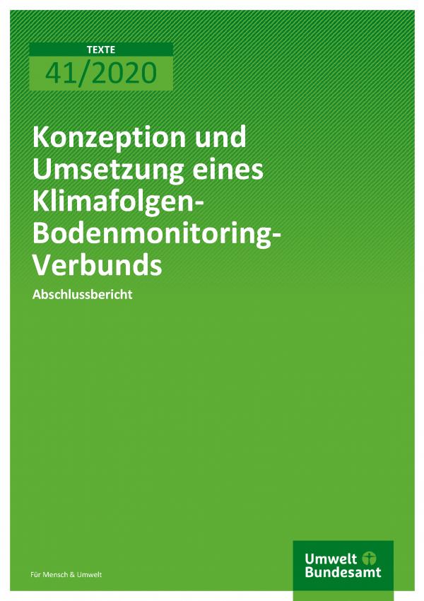 Cover der Publikation TEXTE 41/2020 Konzeption und Umsetzung eines Klimafolgen-Bodenmonitoring-Verbunds