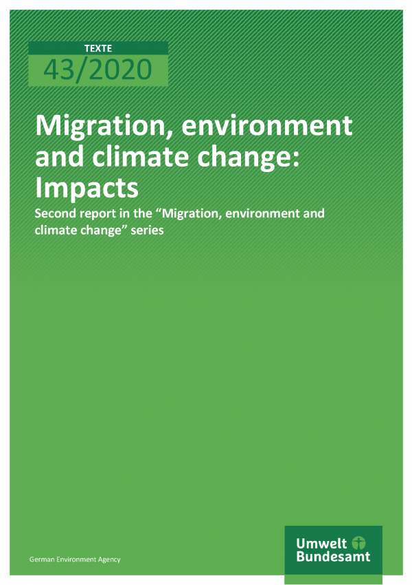 Cover der Publikation TEXTE 43/2020 Migration, environment and climate change: Impacts