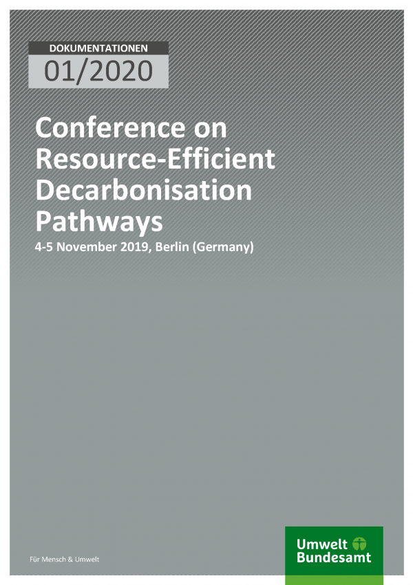 Cover of publication DOKUMENTATIONEN 01/2020 Conference on Resource-Efficient Decarbonisation Pathways