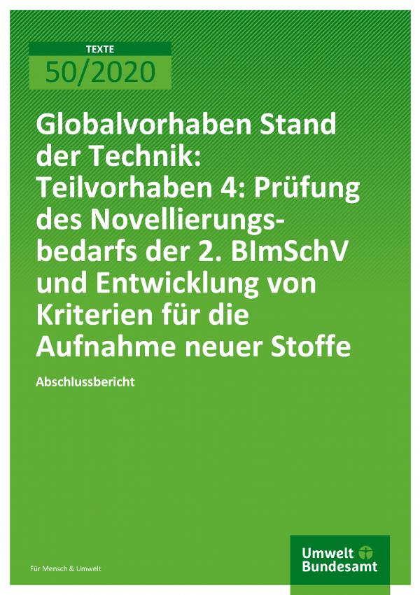 Cover der Publikation TEXTE 50/2020 Globalvorhaben Stand der Technik: Teilvorhaben 4: Prüfung des Novellierungsbedarfs der 2. BImSchV und Entwicklung von Kriterien für die Aufnahme neuer Stoffe