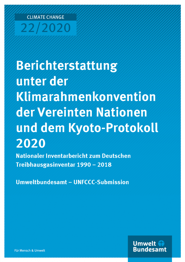 Cover of publication CLIMATE CHANGE 22/2020 Nationaler Inventarbericht zum Deutschen Treibhausgasinventar 1990 – 2018