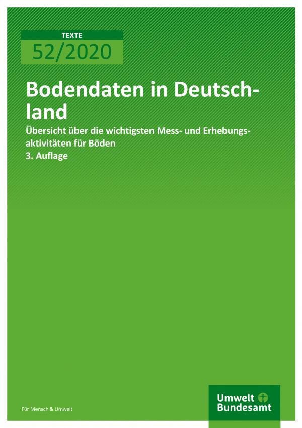 Cover der Publikation TEXTE 52/2020 Bodendaten in Deutschland