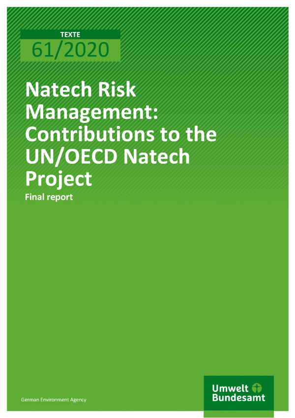 Cover of publication TEXTE 61/2020 Natech Risk Management: Contributions to the UN/OECD Natech Project