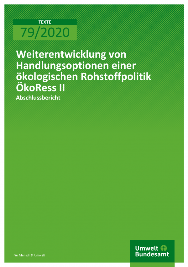 Cover der Publikation TEXTE 79/2020 ÖkoRess II