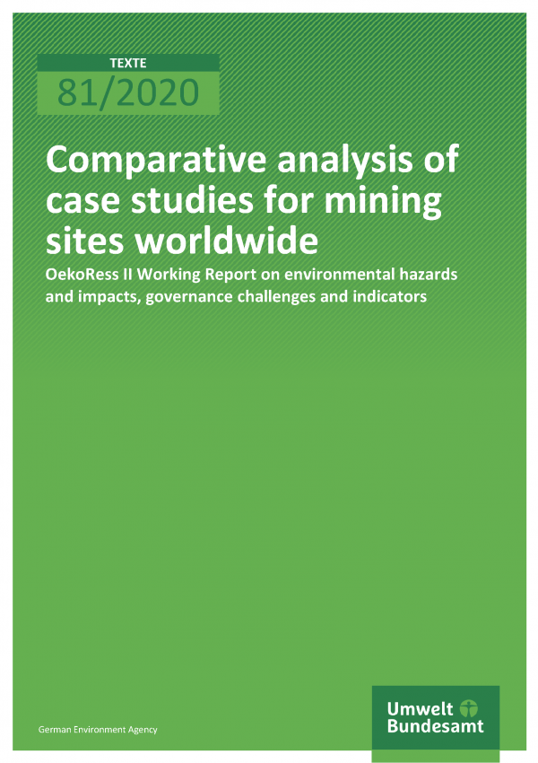 Cover of publication TEXTE 81/2020 Comparative analysis of case studies for mining sites worldwide