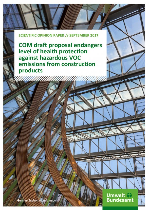 Cover of Scientific Opinion Paper COM draft proposal endangers level of health protection against hazardous VOC emissions from construction products