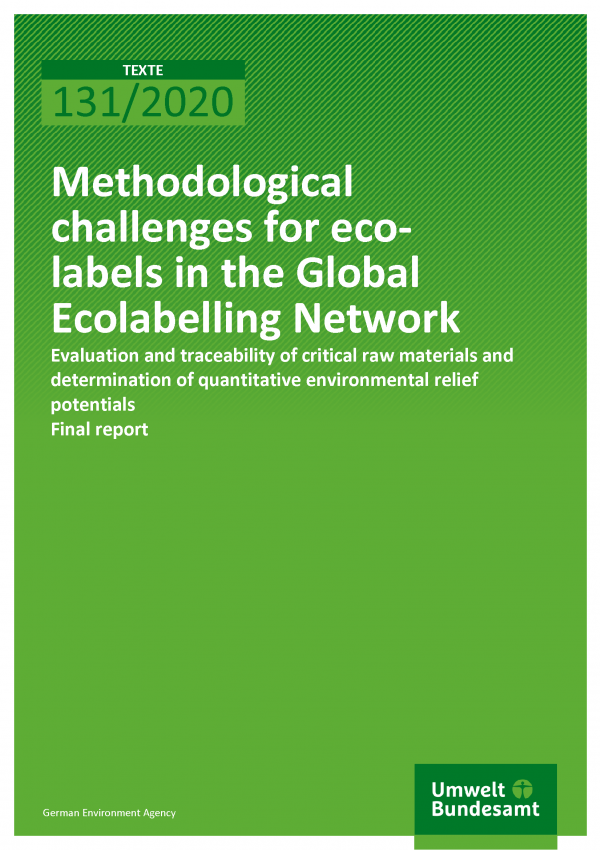 Cover of publication TEXTE 131/2020 Methodological challenges for eco-labels in the Global Ecolabelling Network