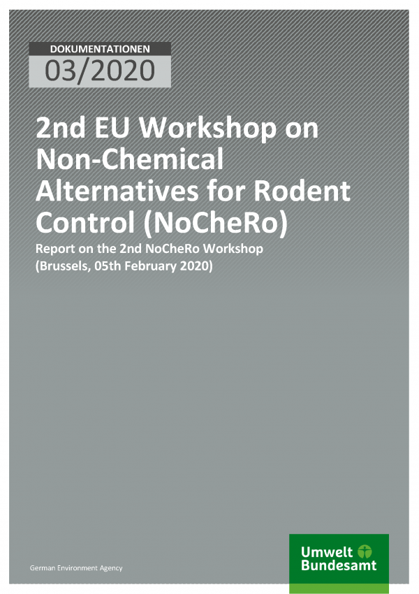 Cover of publication DOKUMENTATION 03/2020 2nd EU Workshop on Non-Chemical Alternatives for Rodent Control (NoCheRo)