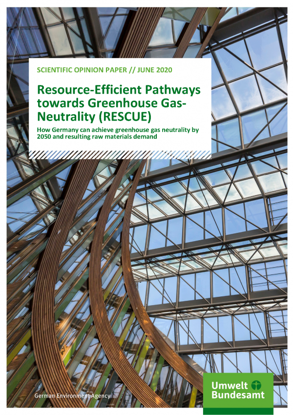 Cover of publication Scientific Opinion Paper Resource-Efficient Pathways towards Greenhouse Gas-Neutrality (RESCUE)