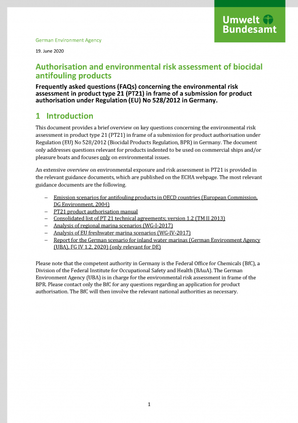 Cover of factsheet Authorisation and environmental risk assessment of biocidal antifouling products