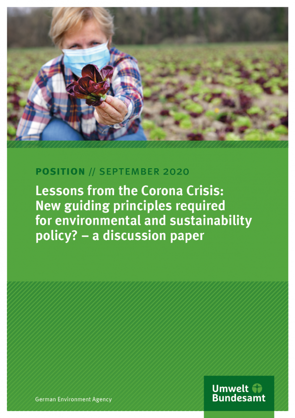 Cover of broschure Lessons from the Corona Crisis: New guiding principles required for environmental and sustainability policy? – a discussion paper