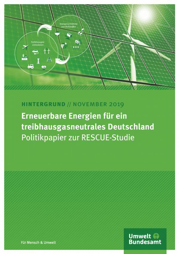 Cover des Hintergrundpapiers Erneuerbare Energien für ein treibhausgasneutrales Deutschland