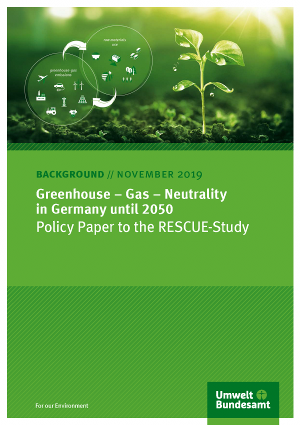 Cover of broschure Greenhouse – Gas – Neutrality in Germany until 2050