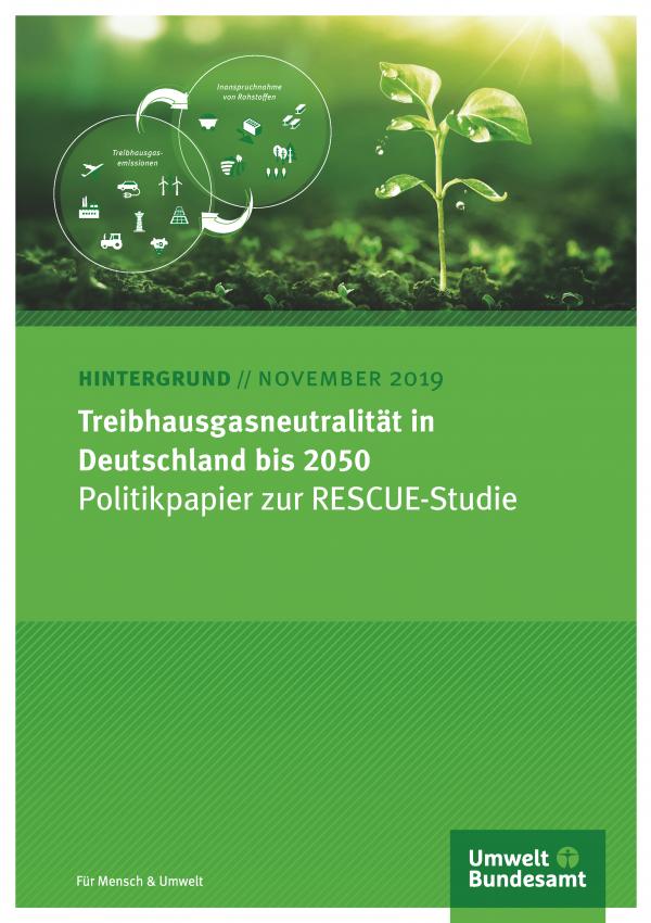 Cover des Hintergrundpapiers Treibhausgasneutralität in Deutschland bis 2050