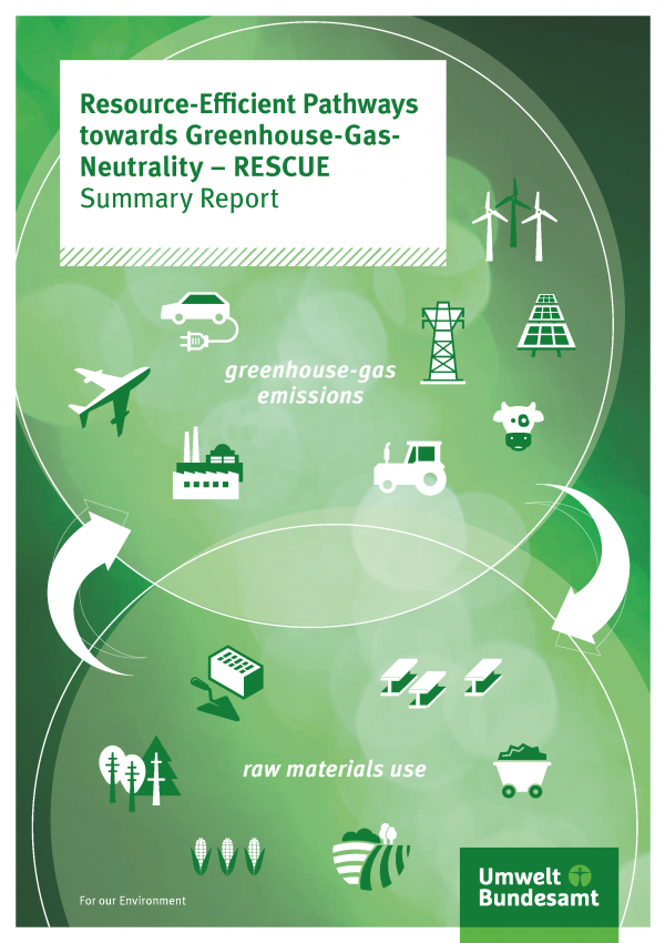 Cover of broschure Resource-Efficient Pathways towards Greenhouse-Gas- Neutrality – RESCUE