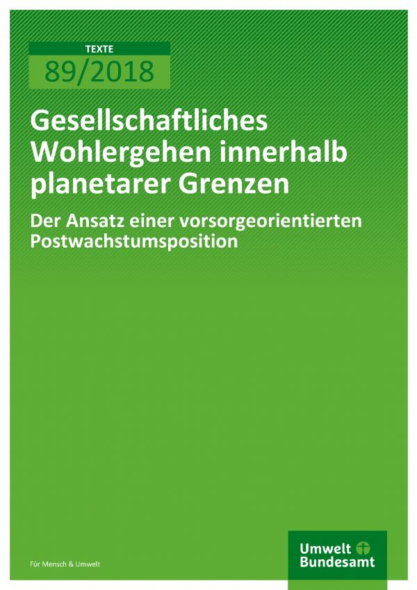 Cover der Publikation Texte 89/2018 Gesellschaftliches Wohlergehen innerhalb planetarer Grenzen - Der Ansatz einer vorsorgeorientierten Postwachstumsposition