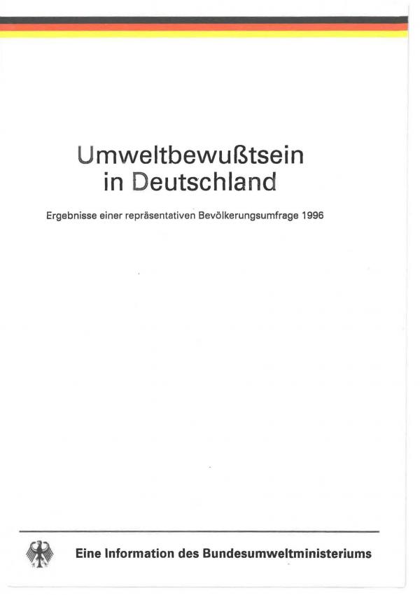 Cover der Broschüre Umweltbewußtsein in Deutschland 1996
