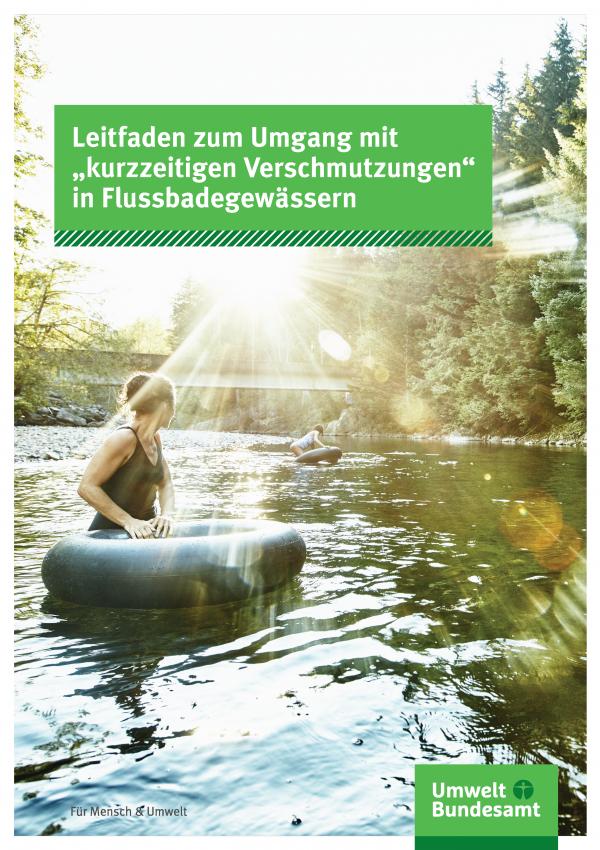 """Cover der Broschüre Leitfaden zum Umgang mit """"kurzzeitigen Verschmutzungen"""" in Flussbadegewässern"""