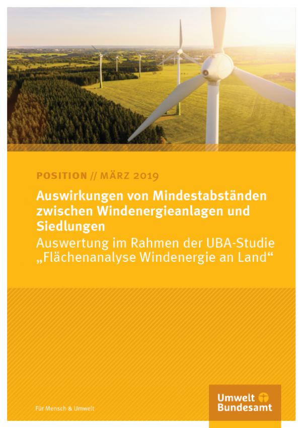 Cover des Positionspapiers Auswirkungen von Mindestabständen zwischen Windenergieanlagen und Siedlungen