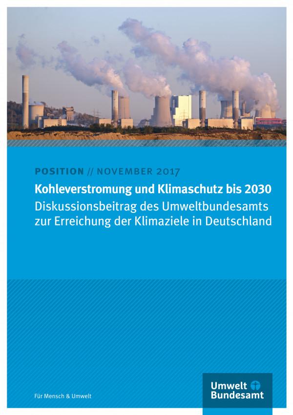 Cover des Positionspapiers Kohleverstromung und Klimaschutz bis 2030
