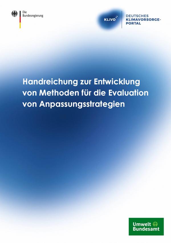 """Titelseite der Publikation """"Handreichung zur Entwicklung von Methoden für die Evaluation von Anpassungsstrategien"""""""
