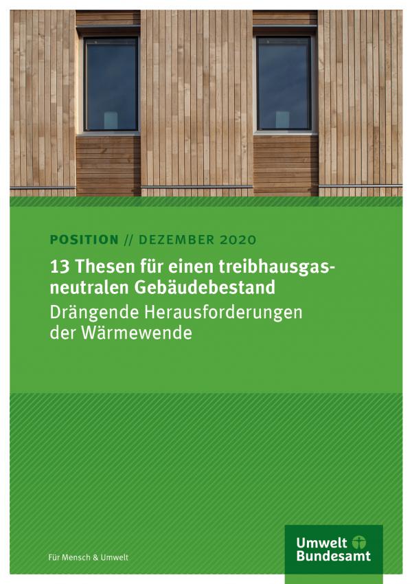 """Cover des Positionspapiers """"13 Thesen für einen treibhausgasneutralen Gebäudebestand"""""""