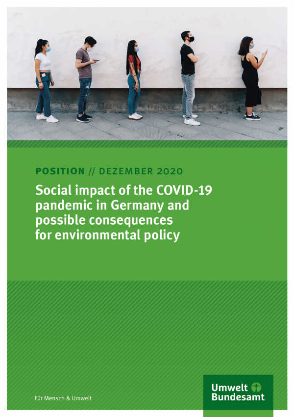 Cover of position paper Social impact of the COVID-19 pandemic in Germany and possible consequences for environmental policy