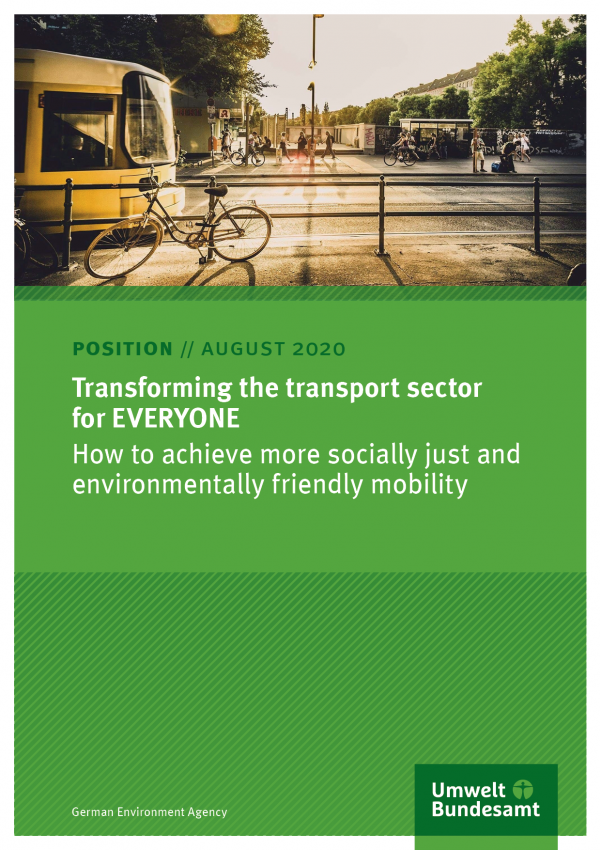 Cover of position paper Transforming the transport sector for EVERYONE