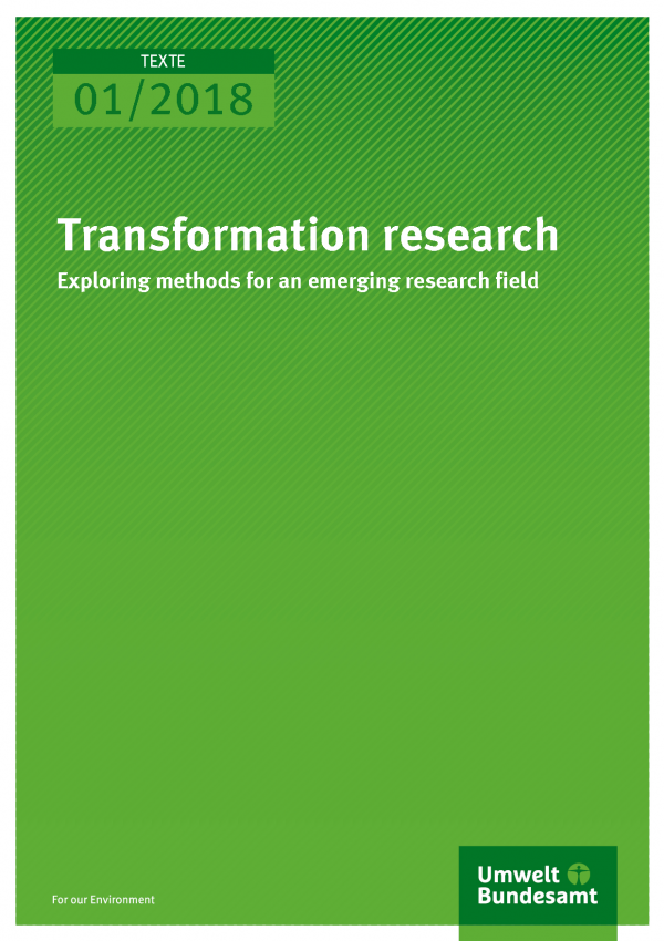 Cover of publication Texte 01/2018 Transformation research – exploring methods for an emerging research field