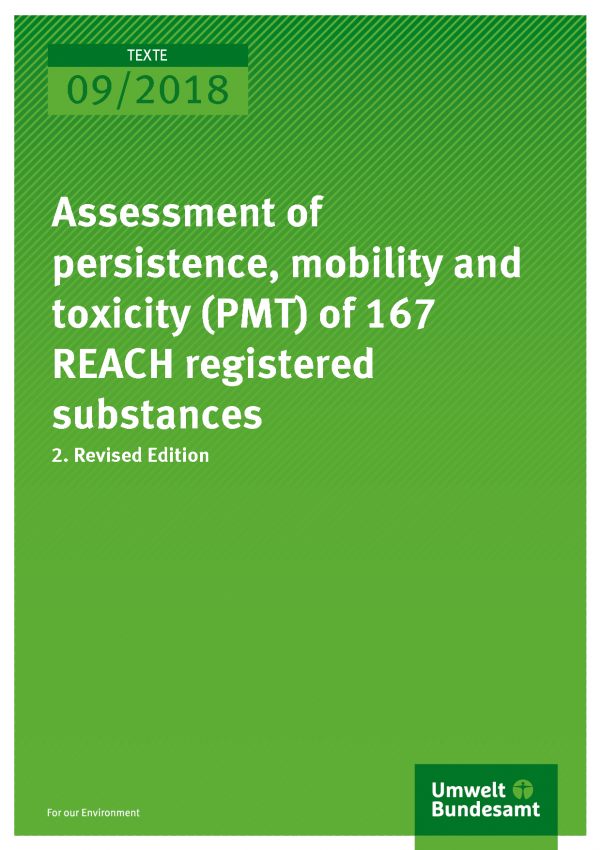 Cover of publication Texte 09/2018 Assessment of persistence, mobility and toxicity (PMT) of 167 REACH registered substances