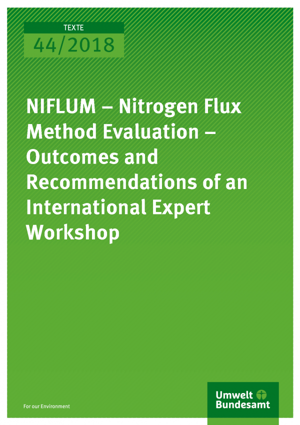Cover of publication Texte 44-2018 NIFLUM – Nitrogen Flux Method Evaluation – Outcomes and Recommendations of an International Expert Workshop