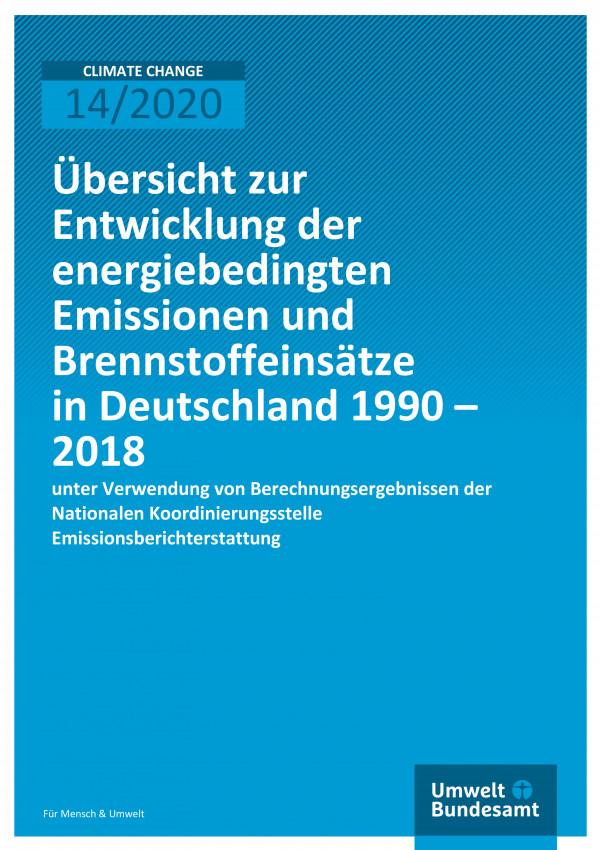 Cover der Publikation CLIMATE CHANGE 14/2020 Übersicht zur Entwicklung der energiebedingten Emissionen und Brennstoffeinsätze in Deutschland 1990 – 2018
