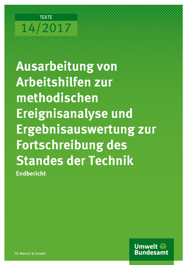 Titelseiten der Publikation Texte 14/2017: Ausarbeitung von Arbeitshilfen zur methodischen Ereignisanalyse und Ergebnisauswertung zur Fortschreibung des Standes der Technik