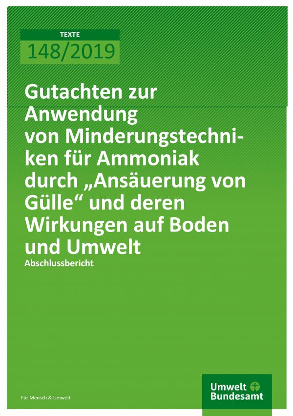 """Gutachten zur Anwendung von Minderungstechniken für Ammoniak durch """"Ansäuerung von Gülle"""""""
