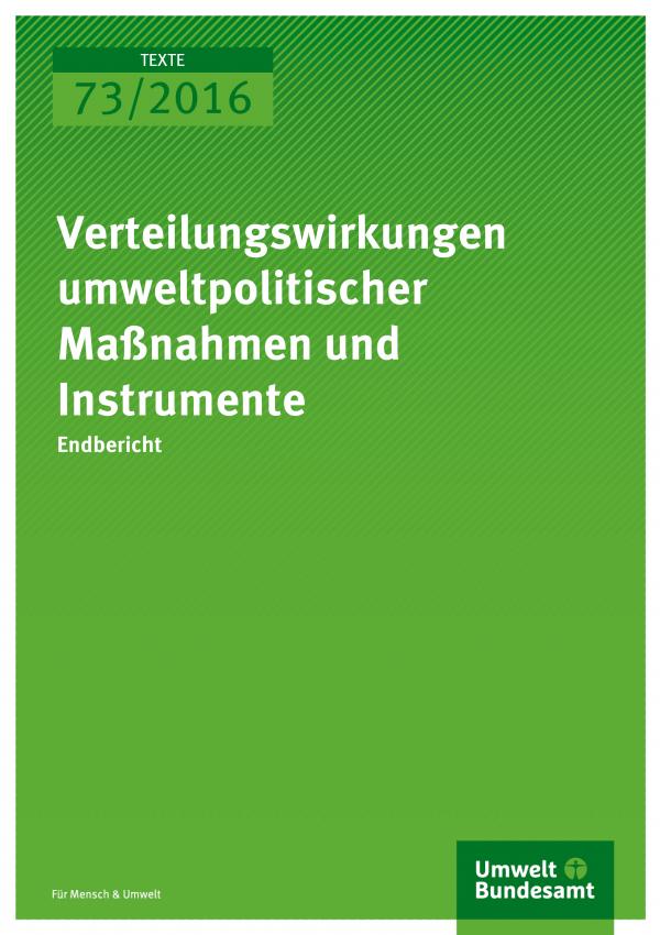 Verteilungswirkungen umweltpolitischer Maßnahmen und Instrumente