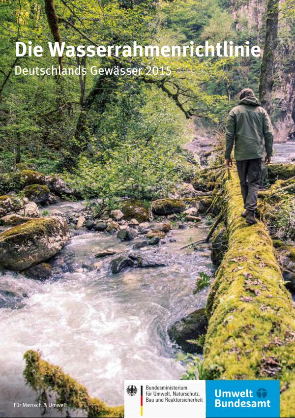 """Titelseite der Broschüre """"Die Wasserrahmenrichtlinie – Deutschlands Gewässer 2015"""" mit einem Hintergrundfoto eines Mannes, der über einen bemoosten Baumstamm läuft, der ans Ufer eines naturnahen Bergbaches gefallen ist. Unten die Logos von Bundesumweltministerium und Umweltbundesamt."""