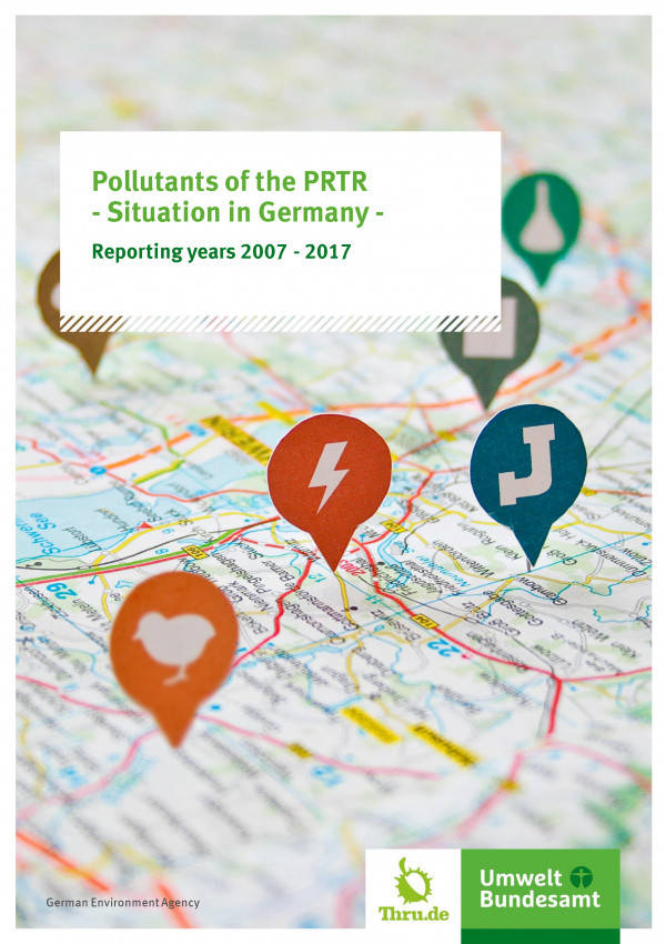 "Cover of the brochure ""Pollutants of the PRTR - Situation in Germany - Reporting years 2007 - 2015"" of the Umweltbundesamt"