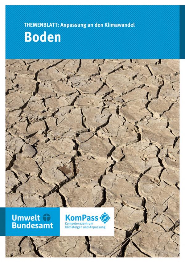 """Cover von """"Anpassung an den Klimawandel: Boden"""" mit einem Foto eines ausgetrockneten, rissigen Bodens"""