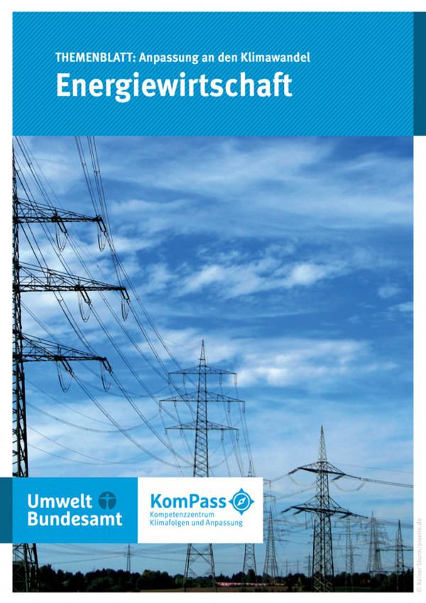 """Cover von """"Anpassung an den Klimawandel: Energiewirtschaft"""" mit einem Foto von Energiefreileitungstrassen"""